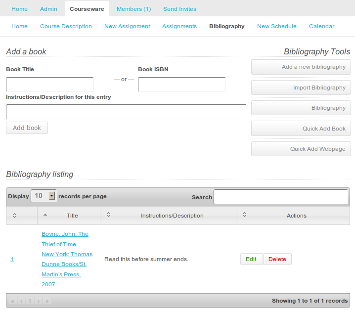Quick Add Bibliography Screen